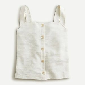 J. Crew Button Front Top Textured Ivory Size M